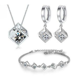 NEW [Set of 3] 925 Sterling Silver Diamond Cube E